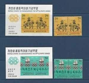 KOREA  617b-623b PAIRS + 617a-623a S/S - MH - 1968 - MEXICO OLYMPIC GAMES