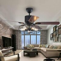 Industrial Ceiling Fan Light Semi Flush Ceiling Chandelier Fixture Remote 52""