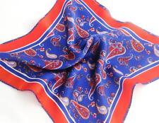 """New 14"""" 100% Silk Pocket Square  Reddish/Orange,  Navy Paisley"""
