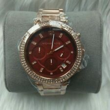 Michael Kors Parker Rosegold-tone Red Dial Chronograph Watch MK6106