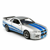 1:36 Nissan Skyline GTR R34 Model Car Diecast Toy Vehicle Boys Silver Collection