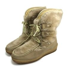 Quoddy Womens Sz 10 Beige Moccasins Suede Leather Fur Hiking Boots Lace Up