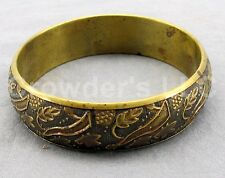 Brass Bangle Bracelet Made in India Branches Brown Leaf Leaves  Yellow Jewelry