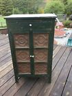 """Antique Primitive Punched Tin Pie Safe 12 tins Cupboard is 24"""" x 15"""" x 42"""" high"""