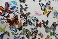 "DESIGNERS GUILD CURTAIN FABRIC DESIGN ""Butterfly Parade"" 1 METRE  OPALIN COTTON"