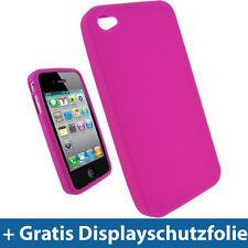 Pink Silikon Skin Tasche für Apple iPhone 4 HD 16 32gb 4G Gen Hülle Etui Case