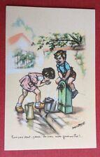 CPSM. Illustrateur Germaine BOURET. Bois pas tout, pense un peu aux grenouilles