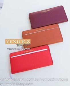 BNWT $259 MICHAEL KORS Jet Set Pocket ZA Continental Leather Wallet Clutch Purse