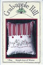 """Crab-apple Hill Studio """"Simple Joys of Winter"""" Embroidery Pillow Pattern #219"""