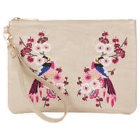 Oasis Kimono Embroidered Clutch Bag Womens Handbag Metallic Xbody Crossbody