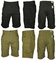 Mens Shorts Combat Cargo Chino Cotton Casual Big King Sizes in Black & Khaki