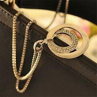 Frau Kristall Strass Silber Überzogene Lange Kette Anhänger Halskette