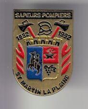 RARE PINS PIN'S .. POMPIER FIRE BLASON ARM SAINT ST MARTIN  LA PLAINE 42 ~DC