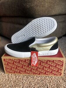 Vans x Shake Junt Slip-On Pro Skate Shoes Black/Gold Mens Sz 9