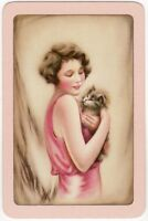 Playing Cards Single Card Old Vintage GIRL LADY Fluffy Pet KITTEN CAT Art Design