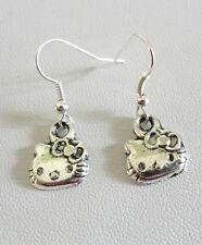 Dangle earrings - Tibetan silver style kitty cat heads