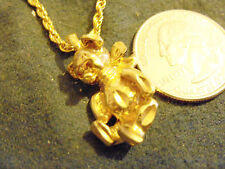 bling gold plated teddy bear with bow pendant charm rope chain hip hop necklace