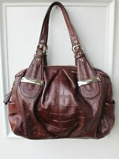 B. Makowsky LARGE Brown Croc Embossed Leather Hobo Bag Silver Hardware PERFECT