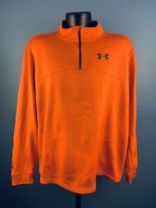 Men's Under Armour Loose Heat Gear Orange Quarter Zip Pullover 2XL