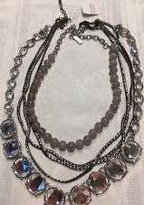 Lia Sophia Collection 3x Single Strand Pendant Necklace Crystal Stone Silver*