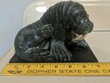 Walrus Carved Soapstone by The Wolf Sculptures Hand Made in Canada