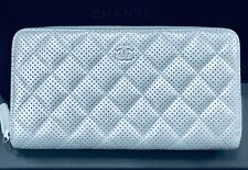 e41de78e3dcd NEW Chanel Paris Italy Classic Quilt Gusset Double Zip Wallet Silver