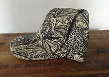 NEW VINTAGE Deadstock SnapBack Camo Safari Animal Hat Black & Cream Flat Bill US