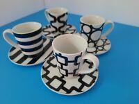Crate & Barrel Espresso Cup & Saucer Demitasse 8 pc set Black and White Graphic