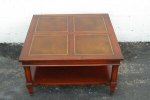 Mahogany Leather Top Two Tiers Square Coffee Table 2271