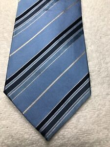 BANANA REPUBLIC MENS TIE LIGHT BLUE WITH BLUE AND GRAY STRIPES 3.75 X 59