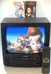 """Toshiba MV13L3 13"""" TV/VCR Combo Retro Gaming W/ Remote & VHS Movies Tested Works"""