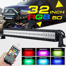 RGB LED Light Bar 5D 32INCH 420W CREE Strobe Flash Multi Color Offroad Truck 30""