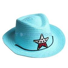 Boys Girls Kids Straw Western Cowboy Cowgirl Hat Stars Sun Cap Applique Hea TN2F