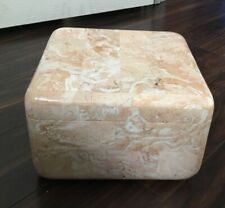Renoir Designs Vintage Marble Soapstone Jewelry Box WOW!! Large Square Rounded