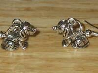 Tibetan Silver Cute Sitting Dog Charm Earrings