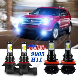 Para For Ford Explorer 2011-2013 2014 2015 Faros LED Kit de luz antiniebla 8000K