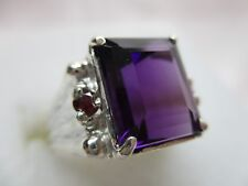 MENS OR LADIES DESIGNER 5.85CT AMETHYST WITH RUBY ACCENTS STERLING RING