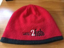 Wired2Fish.com Beanie Red Black & White Bass Pro Fishing Knit Hat