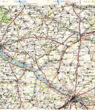 Amiens Abbéville Doullens 1939 carte routière orig (partie) Airaines Ailly Soues