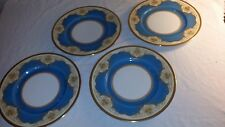 """Set of 4 Hutschenreuther Blue Gold Encrusted 10 1/2"""" Plates 29109 215983 A 21"""