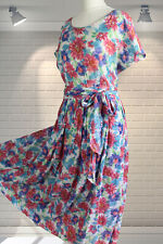 Original Vintage 1980s Cool Cotton Floral Grunge Oversized Floaty Hippy Dress ML