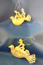 Holiday Winter Birds Silver Glitter Plastic Hanging Ornaments Set Of 2 NEW