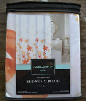 Cynthia Rowley Floral Orange and White Shower Curtain - Floating Flower