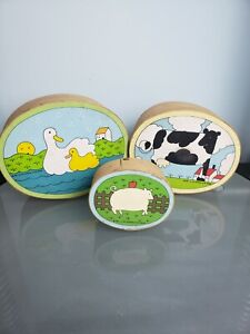 3 Nesting Oval Wood Boxes Wooden Cow Duck Pig Country Farm Lillian Vernon 1982