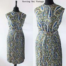 VINTAGE 1950S ORIGINAL DRESS PAISLEY PLETED SKIRT SLEEVELESS SUMMER SUN RETRO 14