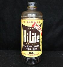 Simoniz Hi-Lite Furniture Polish Glass Bottle Paper Label Good Housekeeping 1952