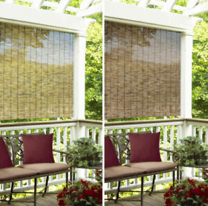 Indoor Outdoor Window Blinds Natural Bamboo Roll Up Shade Sun 4'-6' in 2 Colors