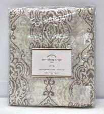 "NEW Pottery Barn Reeta Print Sheer 50"" x 96"" Linen Drape Curtain~Gray"