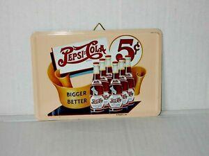 Blechpostkarte Blechschild Pepsi Cola Bigger Better 10 x 14,4