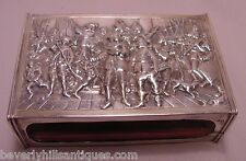 Antique 833 Silver Large Match Box Holder 21 Figures Rembrandts Night Watch